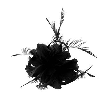 Jili Online Vintage Woman Feather Fascinator Hair Clip for 20s Great Gatsby Charleston Party Tea Party - Black
