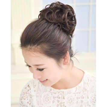 Gracefulvara Wavy Curly Synthetic Bun Cover Hairpiece Clip in Scrunchie Hair Extensions Chic (Dark brown)