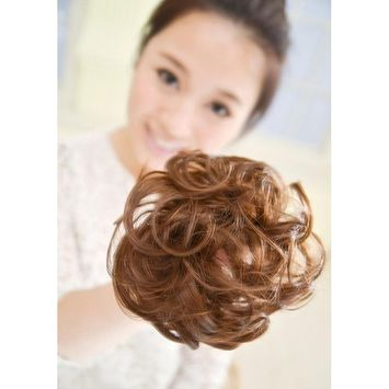Gracefulvara Wavy Curly Synthetic Bun Cover Hairpiece Clip in Scrunchie Hair Extensions Chic