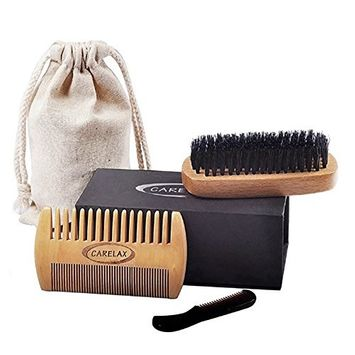 Beard Brush and Beard Comb kit for Men Grooming, Styling & Shaping - Handmade Wooden Comb and Natural Bristle Beard Brush set for Men Beard & Mustache
