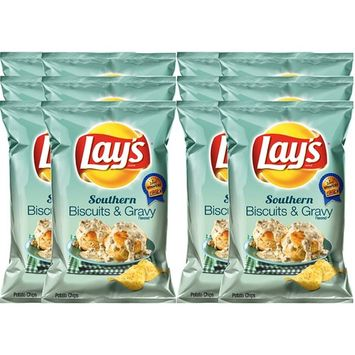 Lay's Southern Potato Chips Southern Biscuits & Gravy 7.75 Oz Bag Snack Care Package for College, Military, Sports