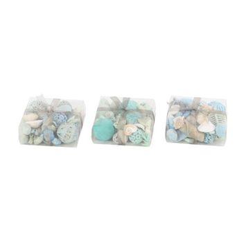 Decmode Set of 3 Coastal Sola Balls and Sea Shells Decorative Boxes, Multi