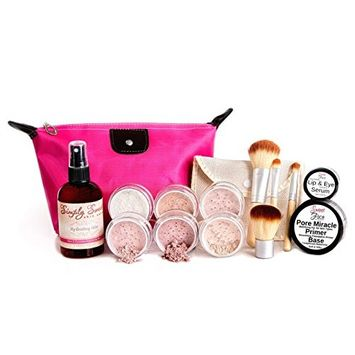 TIMELESS LOOK KIT (WARM Neutral Shade- Most Popular) Full Size Mineral Makeup Set Matte Foundation Bare Face Sheer Powder Cover