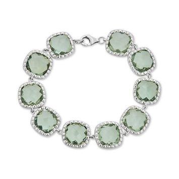 Green Quartz Link Bracelet (40 ct. t.w.) in Sterling Silver