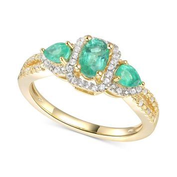 Emerald (5/8 ct. t.w.) & Diamond (1/6 ct. t.w.) Statement Ring in 14k Gold Over Sterling Silver