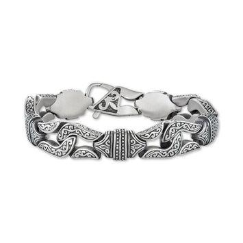 Men's Large Decorative Link Chain Bracelet in Stainless Steel & Black Titanium-Plate