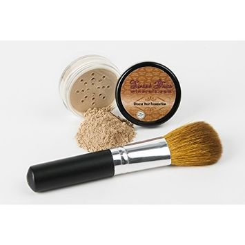 2 pc FOUNDATION with FACE BRUSH (WARM Neutral Shade-Most Popular) Set Mineral Makeup Kit Bare Skin Sheer Powder Cover