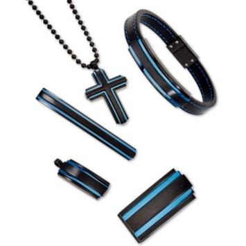 Men's Two-Tone Jewelry Collection in Matte Black & Blue Ion-Plated Stainless Steel