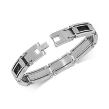 Men's Leather Inlay Link Bracelet in Stainless Steel