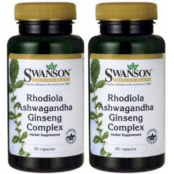Swanson Premium Rhodiola Ashwagandha Ginseng Complex -- 2 Bottles each of 60 Capsules