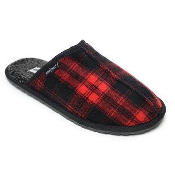 Men's Size 12 Red Plaid Flannel Franklin Scuff Slipper