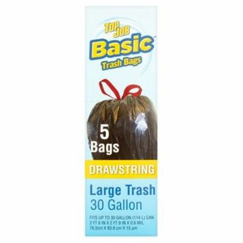 Basic Top Job Drawstring Large Trash Bags, 30 gallon, 5 count