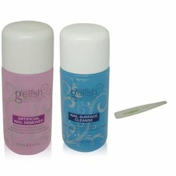 Gelish - Soak Off Nail Polish Remover & Cleanser Bottles 4 Oz & Nail File