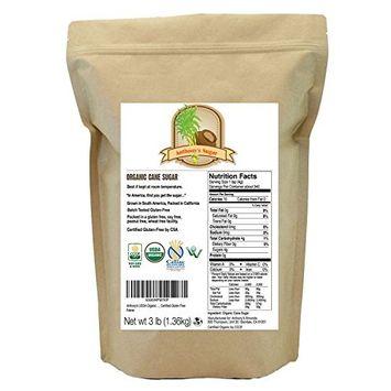 Anthony's Organic Cane Sugar (3 lbs), Granulated, Gluten-Free & Non-GMO