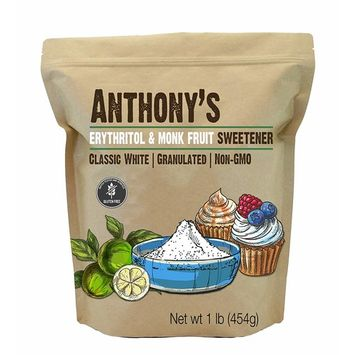 Anthony's Erythritol and Monk Fruit Sweetener Classic White, 1lb, Granulated, 1 to 1 Sugar Substitute, Non GMO, Keto Friendly