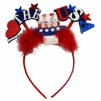 Uncle Sam's Patriot Pride Bobble Headband - I Love The USA (Red)