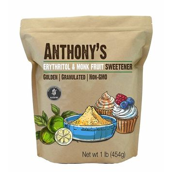 Anthony's Erythritol and Monk Fruit Sweetener Golden, 1lb, Granulated, 1 to 1 Brown Sugar Substitute, Non GMO, Keto Friendly