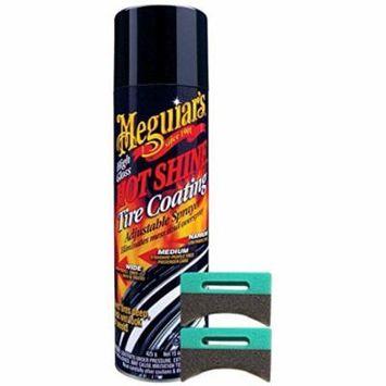 Meguiar's Hot Shine Tire Spray (15 oz) Bundle with 2 Applicator Pads (3 Items)