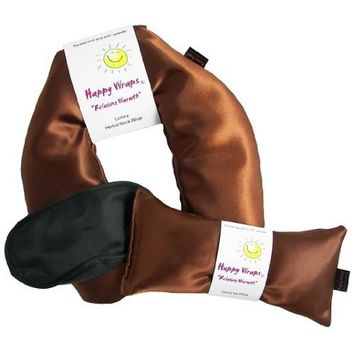 Happy Wraps Herbal Neck Wrap with Lavender Eye Pillow and Sleep Mask - Microwave or Freeze - Copper