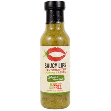 Vegan & Paleo Jalapeño & Green Apple Easy Squeeze Salad Dressing, Topping, and Cooking Sauce by Saucy Lips, Best Tasting, No Sugar Added, Low Carb, Gluten Free, Soy Free, Dairy Free, Nut Free - 9.8 oz []