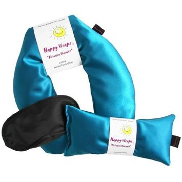 Happy Wraps Unscented Flax Seed Neck Wrap with Unscented Flax Seed Eye Pillow and Sleep Mask - Microwave or Freeze - Aqua