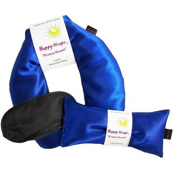 Happy Wraps Herbal Neck Wrap with Lavender Eye Pillow and Sleep Mask - Microwave or Freeze - Sapphire