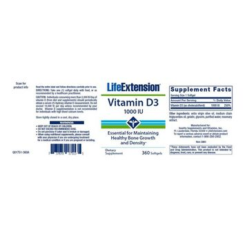 Life Extension Vitamin D3 1000 IU Softgels, 360 Count