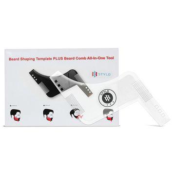 Stylo Super Beard shaper - Hair and beard guide for Mens grooming kit – Plastic beard shaping stencil - Beard shaping and grooming template