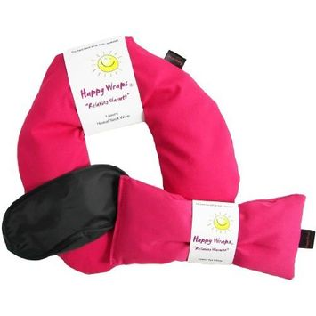 Happy Wraps Unscented Flax Seed Neck Wrap with Unscented Flax Seed Eye Pillow and Sleep Mask - Microwave or Freeze - Pink Cotton