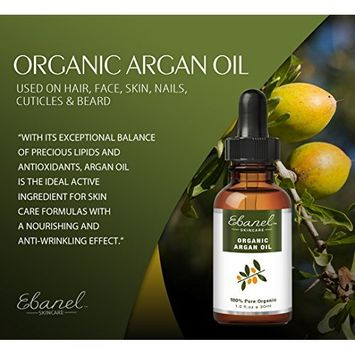 (2 Pack) Ebanel Organic Argan Oil – 100% Pure EcoCert & NATRUE USDA Certified Cold Pressed for Hair Face Skin Beard: Beauty