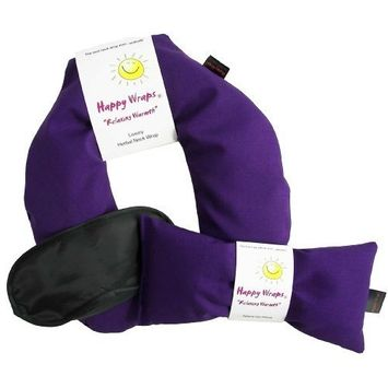 Happy Wraps Unscented Flax Seed Neck Wrap with Unscented Flax Seed Eye Pillow and Sleep Mask - Microwave or Freeze - Purple Cotton