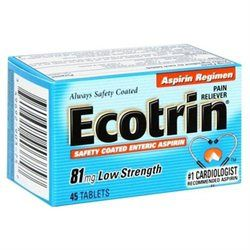 Ecotrin Tablets Ecotrin Safety Coated Enteric Aspirin, 81 mg, 45 tablets
