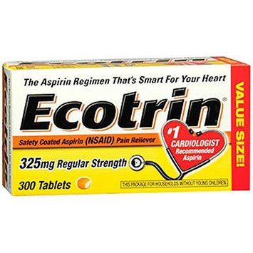 Ecotrin Safety Coated Tablets 325 Mg Regular Strength, 300 Count - Buy Packs and SAVE (Pack of 2)