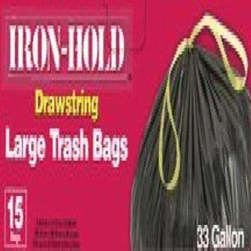 BERRY PLASTICS 1H106/15 DRAWSTRING LARGE TRASH BAG 33 GAL - BLACK (15 CT) (Pack of 12)