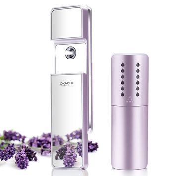OKACHI GLIYA Portable Nano-Ionic Mist Spray Cool Sprayer Hydrating Refresh Soft Skin Mister Mini Humectant Beauty Skin Care Tool Water Spa with Mirror USB Cable