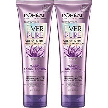 L'Oreal Paris EverPure Sulfate-Free Color Care System Volume Shampoo & Conditioner with lotus, 8.5 Ounce Each