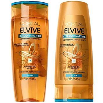 L'Oréal Paris Elvive Extraordinary Oil Nourishing Shampoo and Conditioner Set, 12.6 fl. oz. each