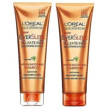 LOreal Paris EverSleek Sulfate-Free Intense Smoothing Shampoo, 8.5 Fluid Ounce & LOreal Paris EverSleek Sulfate-Free Intense Smoothing Conditioner, 8.5 Fluid Ounce