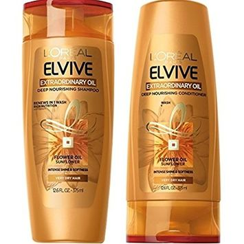 LOréal Paris Elvive Extraordinary Oil Deep Nourishing Shampoo and Conditioner Set, 12.6 fl. oz.