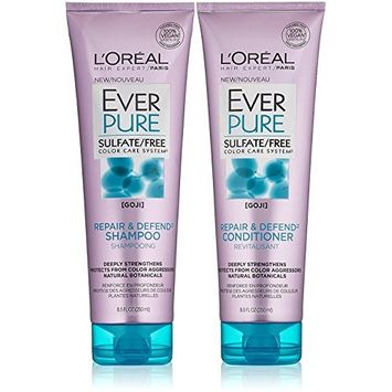 L'Oreal Paris EverPure Sulfate Free Repair and Defend Bundle, Shampoo & Conditioner, 8.5 Ounce Each