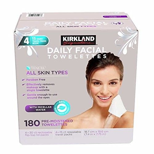 Kirkland-Signature Daily Facial Towellettes, 4.53 Pound (2 Pack (180 Count))