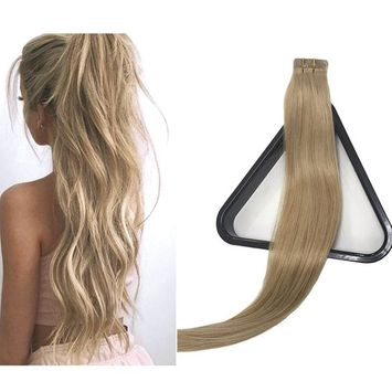 Mario Hair Tape In Human Hair Extensions Silky Straight Skin Weft Human Remy Hair (20 inches, #16)