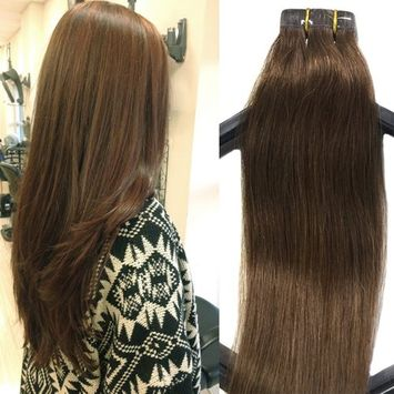 Mario Hair Tape In Human Hair Extensions Brown Silky Straight Skin Weft Human Remy Hair (22 inches, #6)