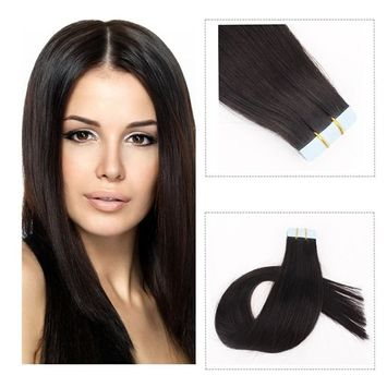 Mario Hair Tape in Human Hair Extensions Natural Black Silky Straight Skin Weft Remy Hair (22 inches, #1B)