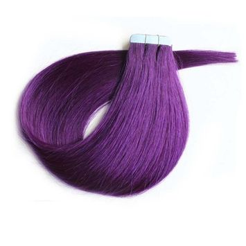 Mario Hair Tape In Human Hair Extensions Silky Straight Skin Weft Human Remy Hair (22 inches, Lila)