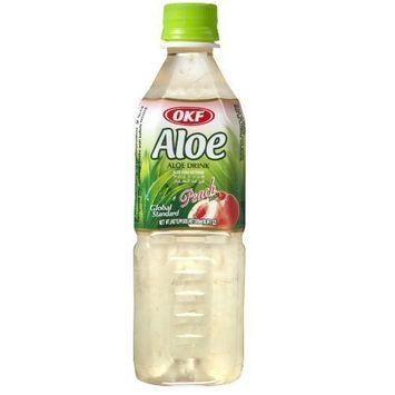 OKF Aloe Vera King Juice Peach, 16.9-Ounce (Pack of 20)