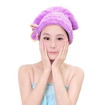 Fakeface Soft Coral Velvet Bowknot Super Absorbent Hat Shower Cap Elastic Band Bath Hair Towel Purple