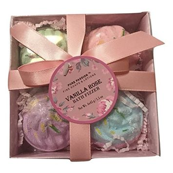 Pure Passion Vanilla Rose Bath Fizzer Gift Set of 4