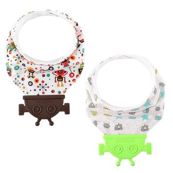 Zooawa 2-Pack Baby Bandana Drool Bibs with Silicone Teether, Suitable for 0-3 Years, Green & Coffee