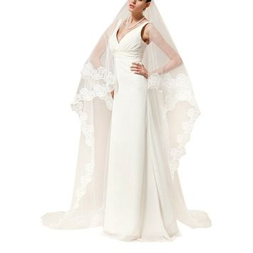 Soft Tulle Wedding Bridal Veil 1 Tier 5 Meters Trailing Long Cathedral Chapel Floor Veils with Elegant Embroidered Lace Trim for Women Bride Lady